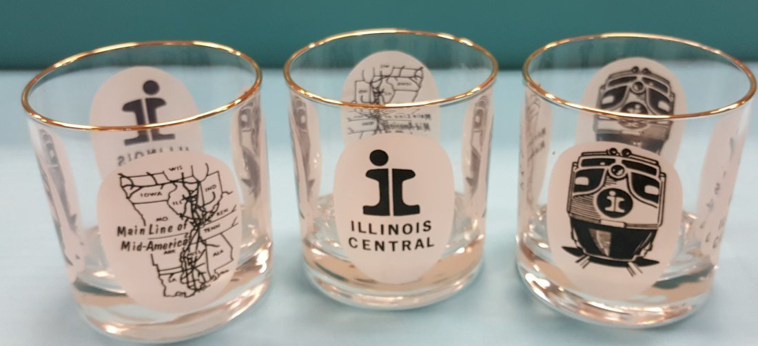 Illinois Central Railroad Drinking Glasses