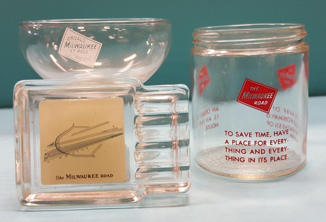 Railroad Desert glass, ashtray, & jar