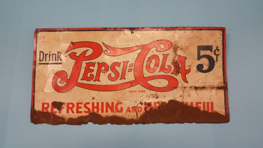 Scarce 1930's Pepsi Cola Tin Sign