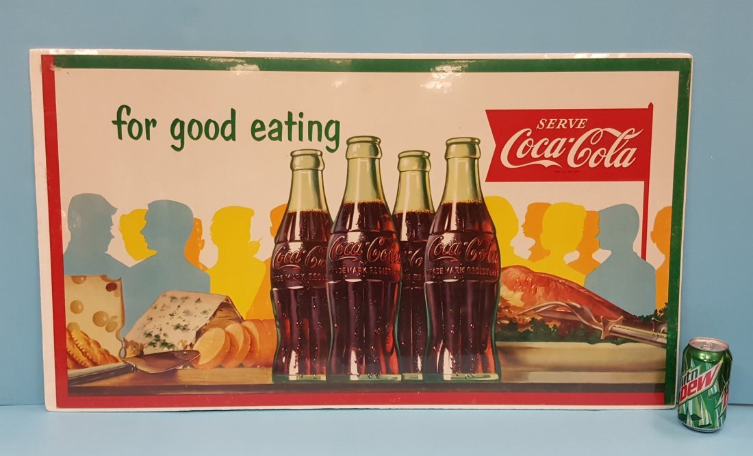 1955 Coca Cola cardboard sign for good eating