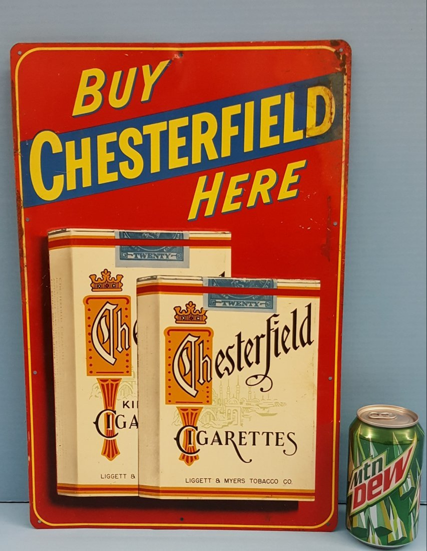 Buy Chesterfield Here Tin Tobacco Sign
