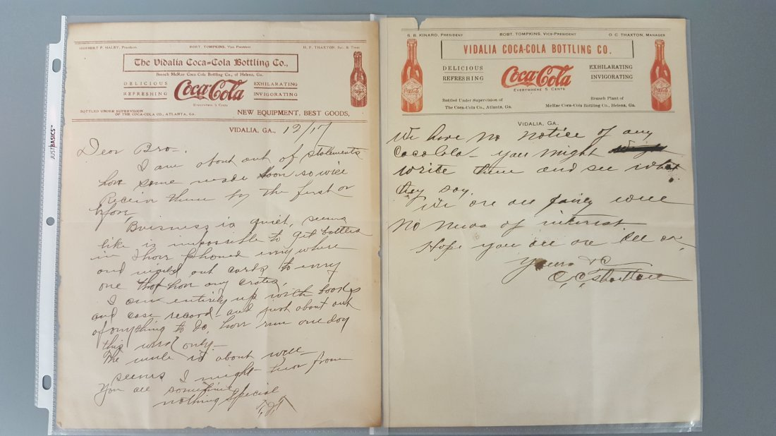 2 Coca Cola letterheads one dated 1917