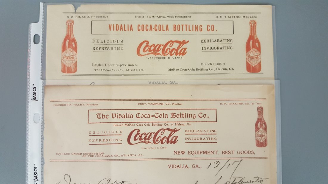 2 Coca Cola letterheads one dated 1917 - 2