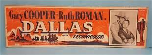"""Dallas (Warner Bros) 1950 Movie Poster Banner 24""""x 82"""""""