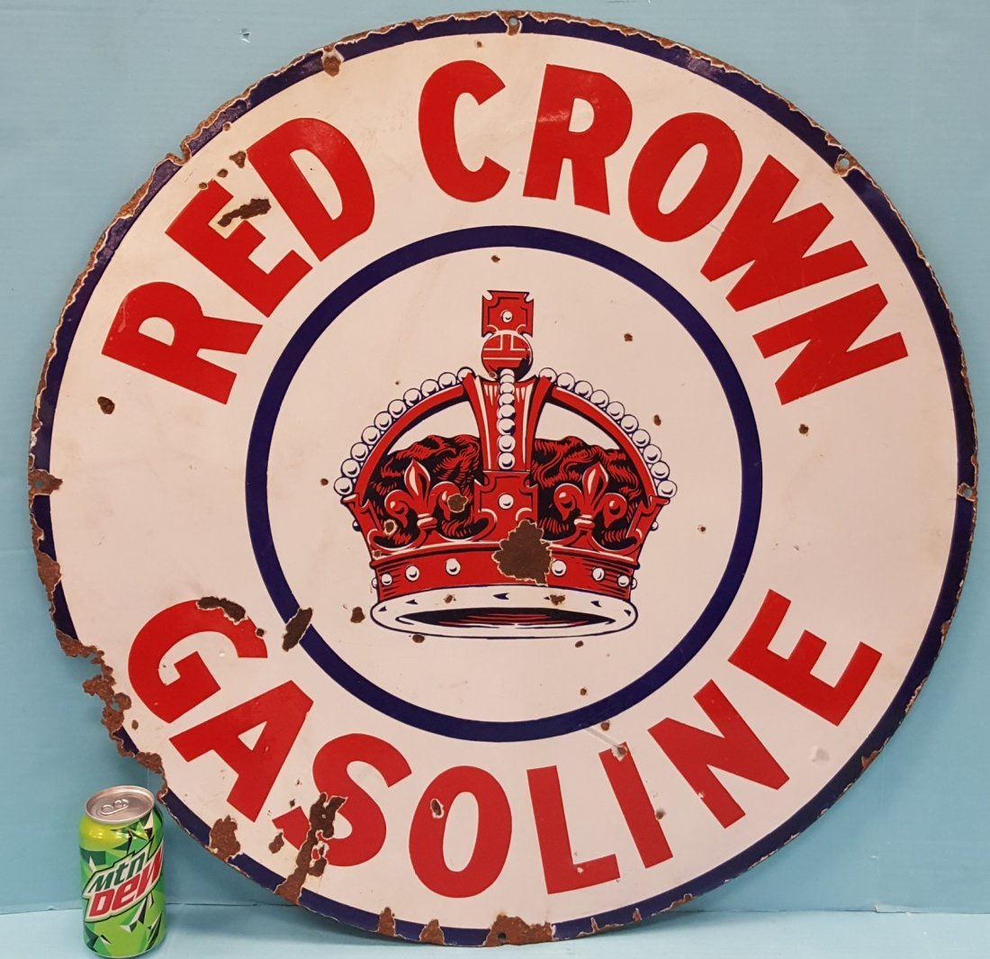 "30"" Porcelain Red Crown Gasoline Dealership Sign"