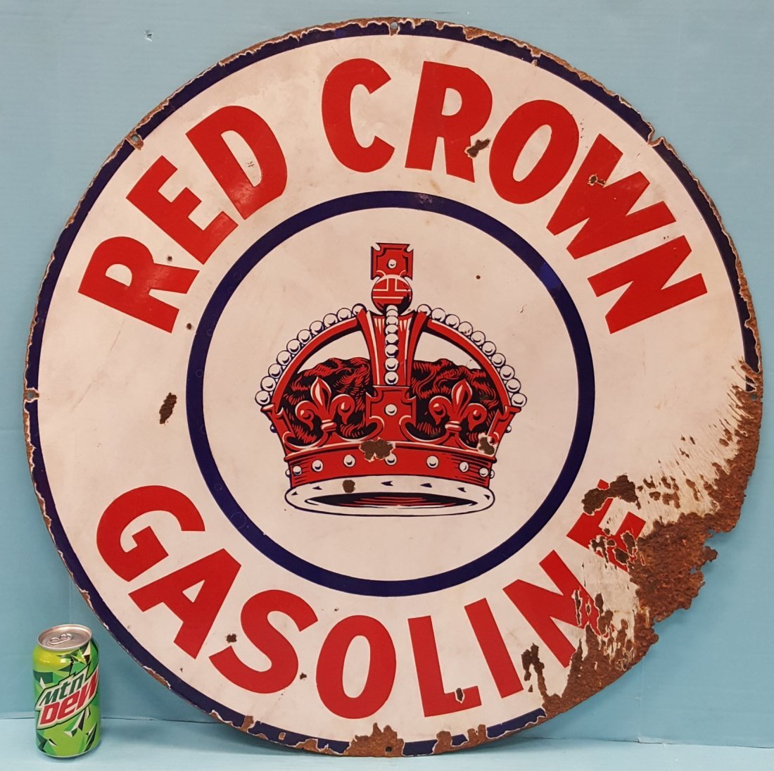 "30"" Porcelain Red Crown Gasoline Dealership Sign - 2"