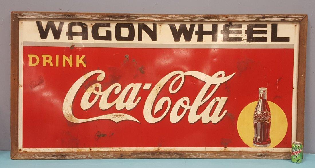 1940 Drink Coca Cola Wagon Wheel Framed Tin Sign