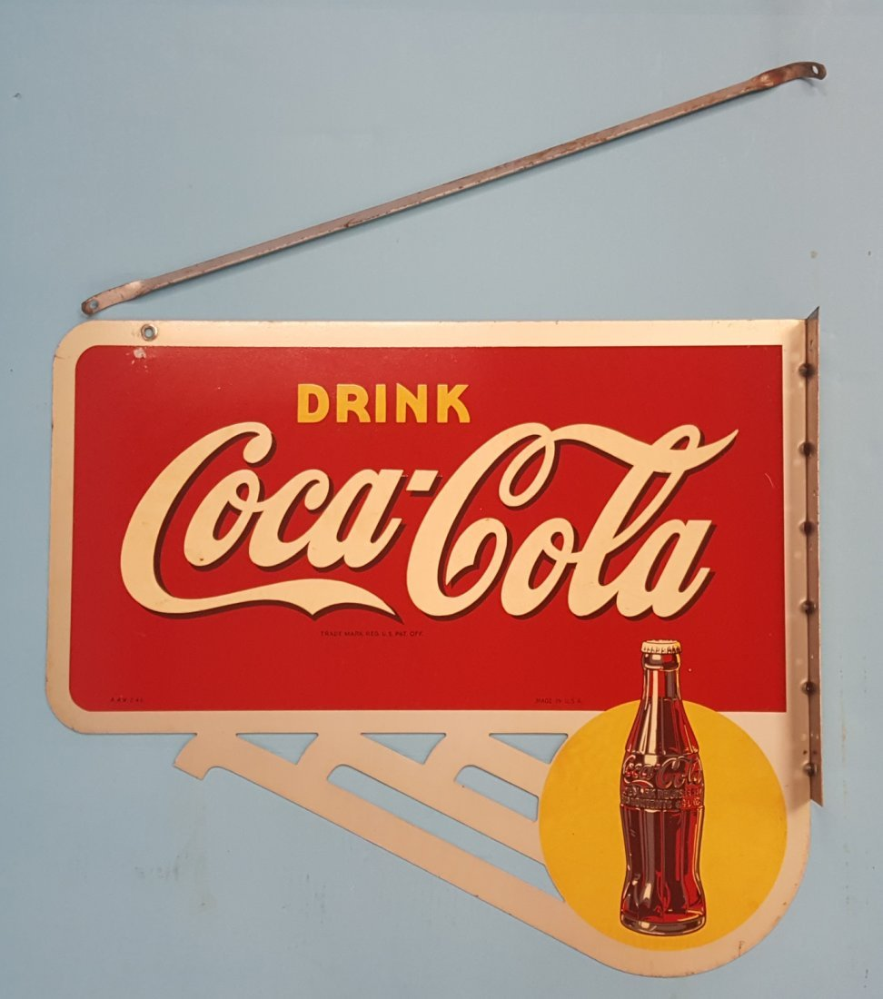 NOS Drink Coca Cola Flange Sign with Bracket