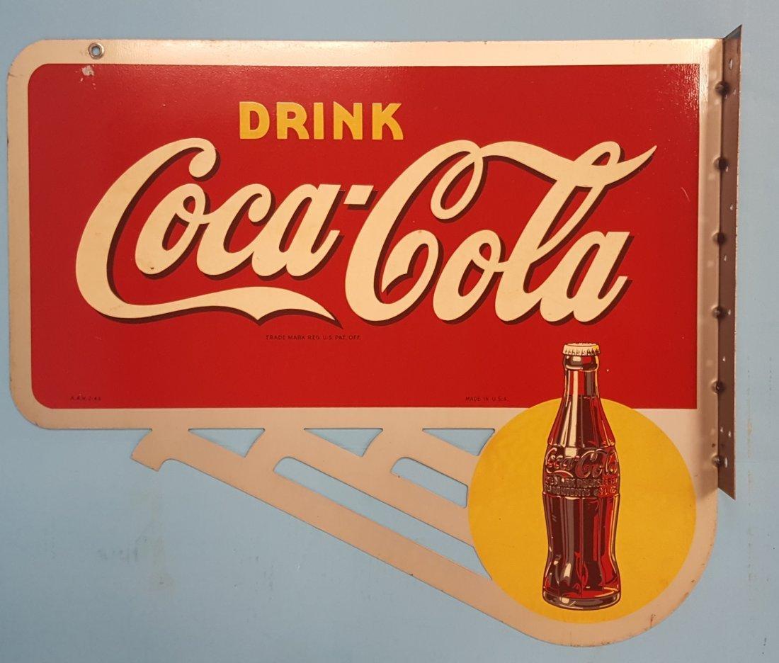 NOS Drink Coca Cola Flange Sign with Bracket - 2