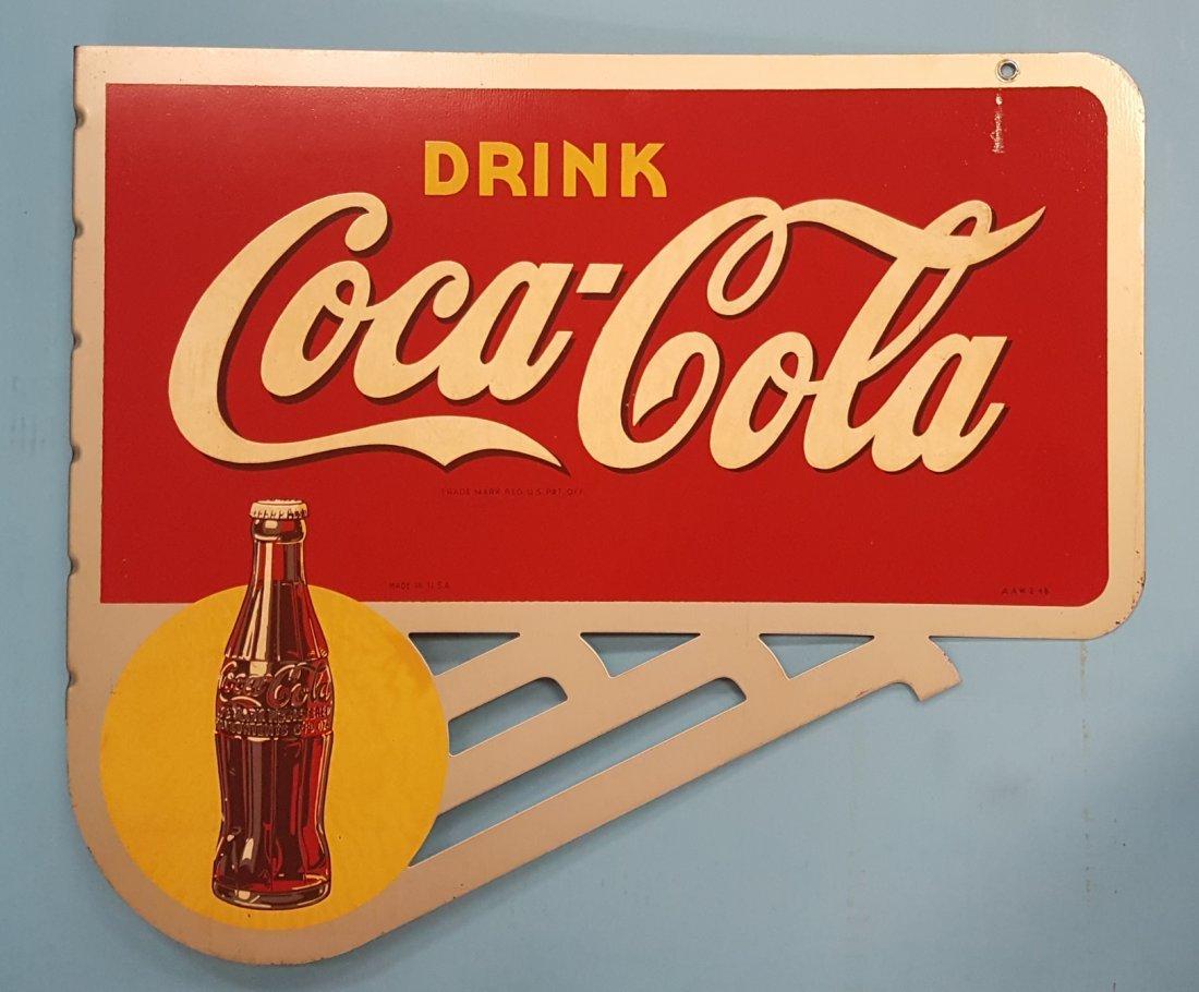 NOS Drink Coca Cola Flange Sign with Bracket - 3