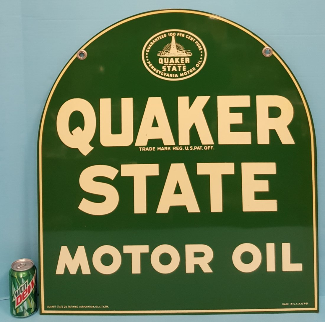 1951 NOS Tombstone Quaker State Sign