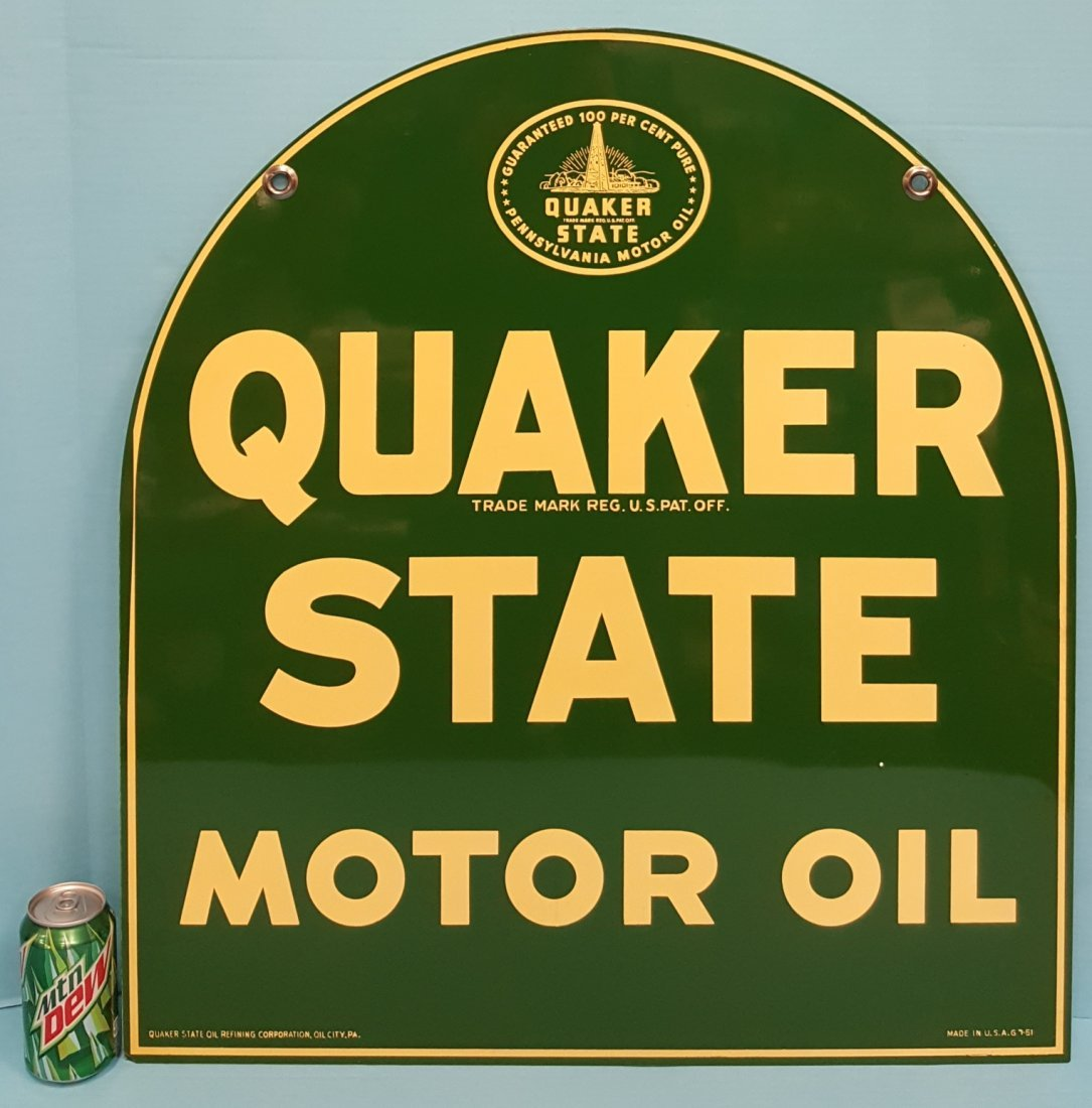 1951 NOS Tombstone Quaker State Sign - 2