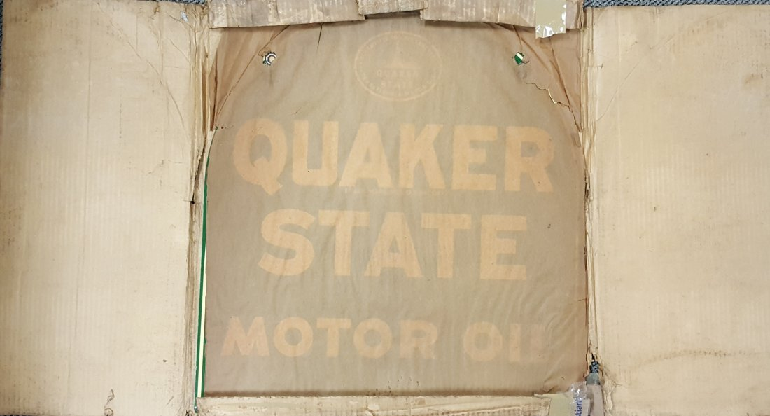 1951 NOS Tombstone Quaker State Sign - 3