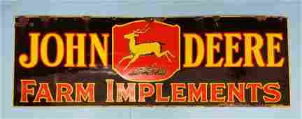 RARE Double Sided John Deere Farm Implements Sign