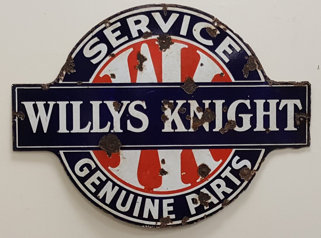 Porcelain Willy's Knight Service Genuine Parts Sign