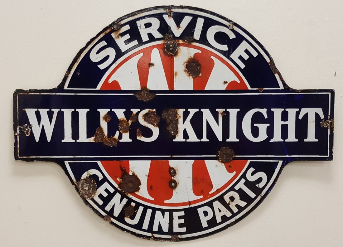 Porcelain Willy's Knight Service Genuine Parts Sign - 2