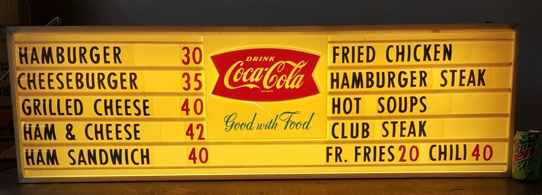 Fishtail Drink Coca Cola Light Up Menu Board Sign