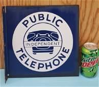 Porcelain Independent Public Telephone Flange Sign
