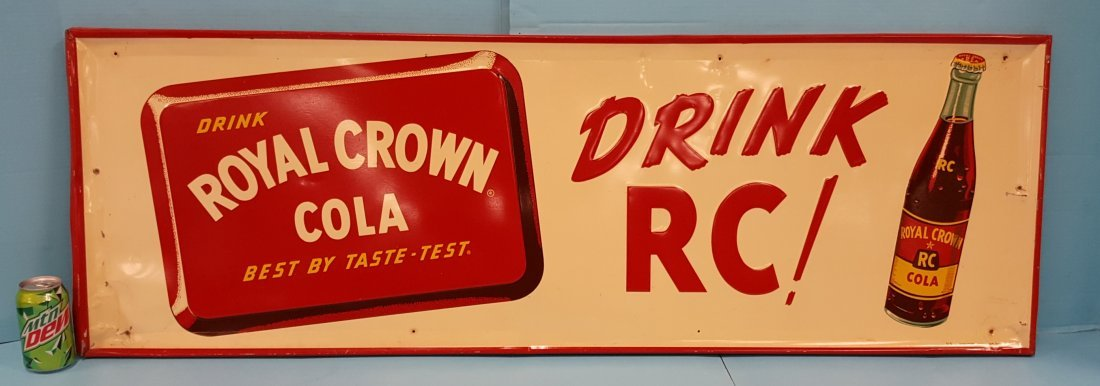 1955 Embossed Royal Crown Cola Drink RC! Tin Sign