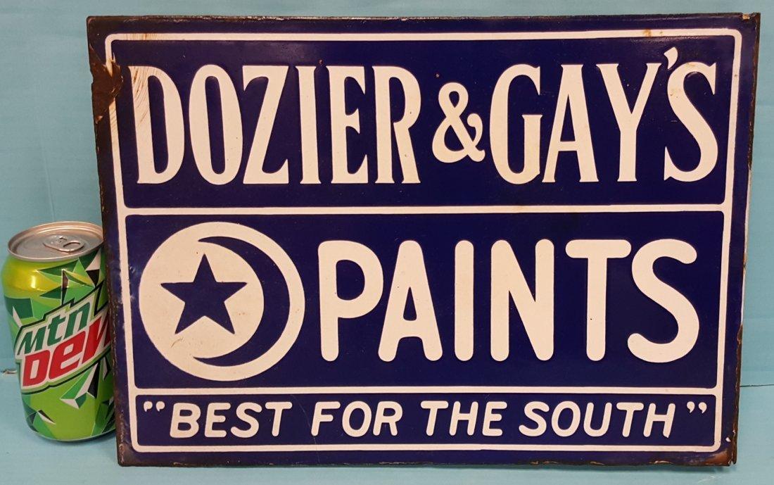 Dozier & Gay's Paints Porcelain Flange Sign