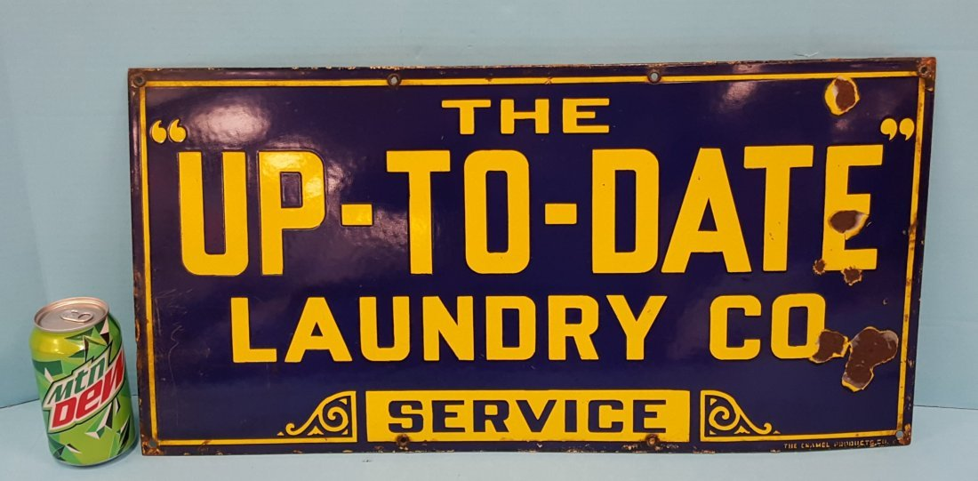 "Porcelain ""UP - TO - DATE"" LAUNDRY CO. SERVICE Sign"