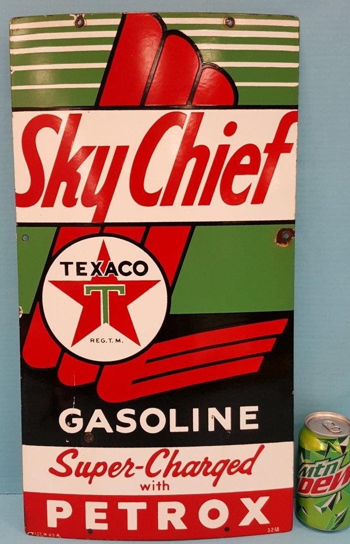 Porcelain Sky Chief Texaco Petrox Pump Plate
