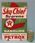 Porcelain Sky Chief Su-Preme Petrox Pump Plate Texaco