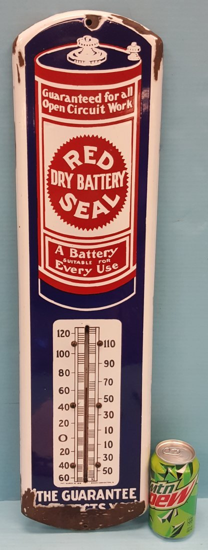 Porcelain Red Seal Dry Cell Battery Thermometer