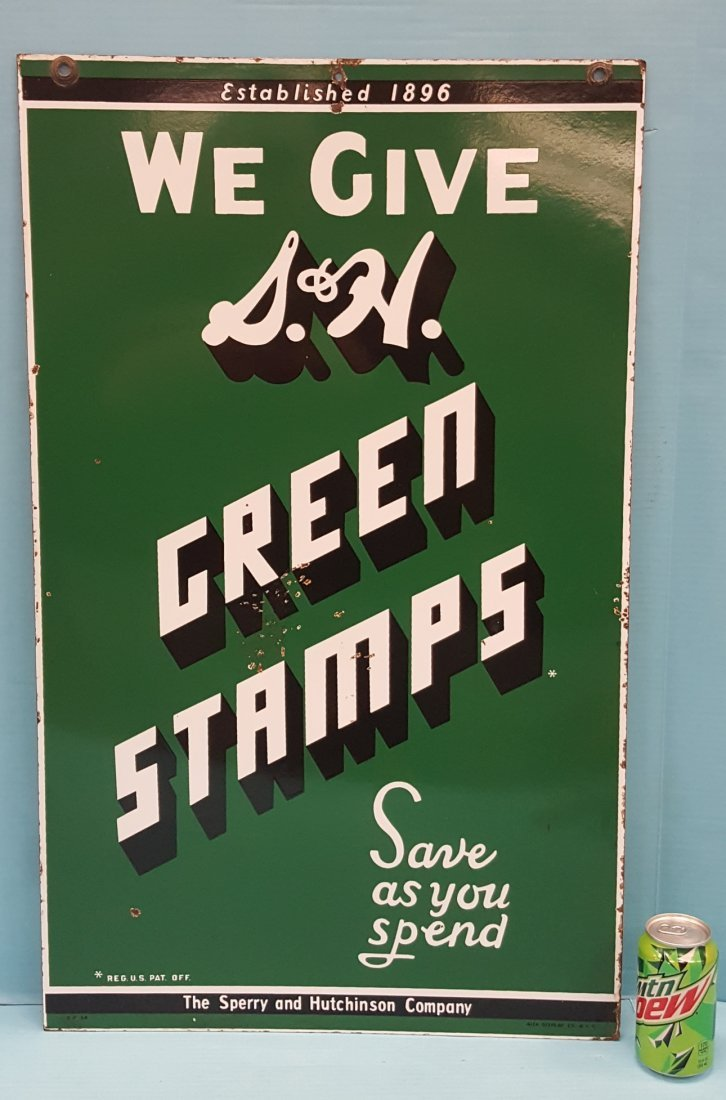 We Give S&H Green Stamps Porcelain Sign