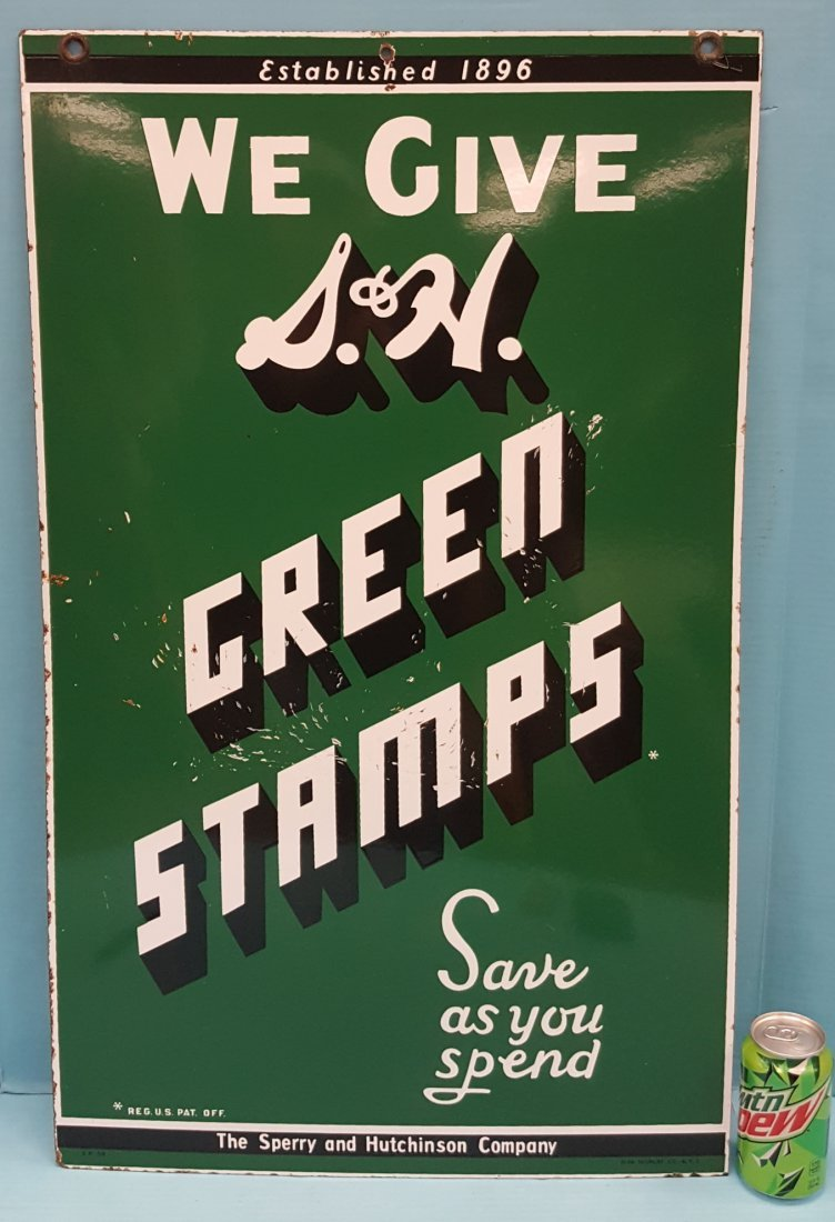 We Give S&H Green Stamps Porcelain Sign - 2