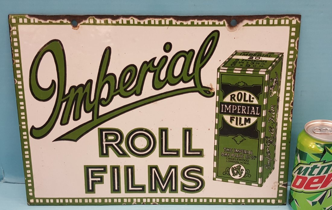 Porcelain Imperial Roll Films Sign