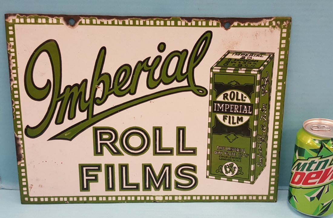 Porcelain Imperial Roll Films Sign - 2