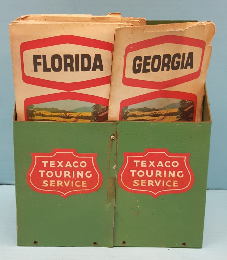 Texaco Road Map Holder with Vintage Road Maps
