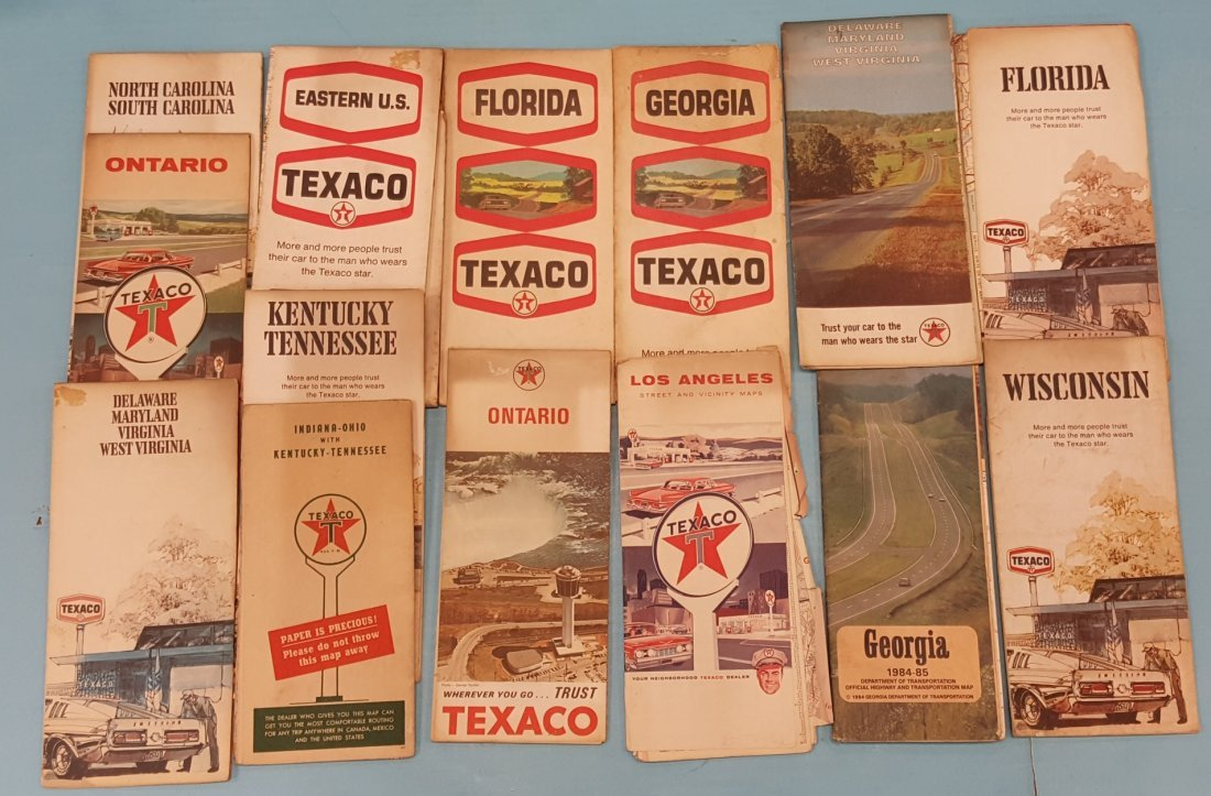 Texaco Road Map Holder with Vintage Road Maps - 2