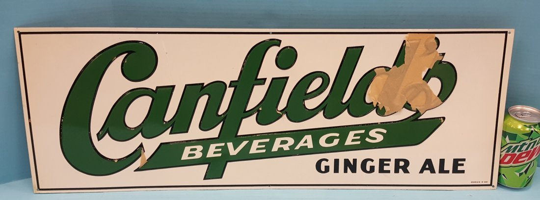 NOS Canfield's Beverages Ginger Ale Tin Sign