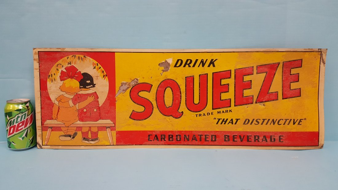 1941 Drink Squeeze Embossed Tin sign