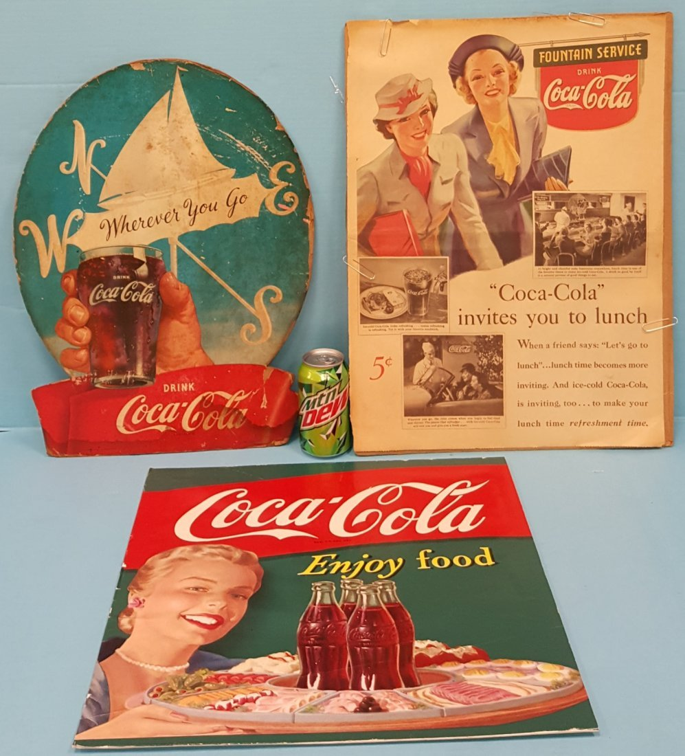 3 Coca Cola Advertisements 1930's-50's