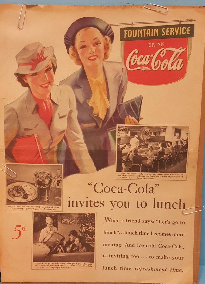 3 Coca Cola Advertisements 1930's-50's - 2