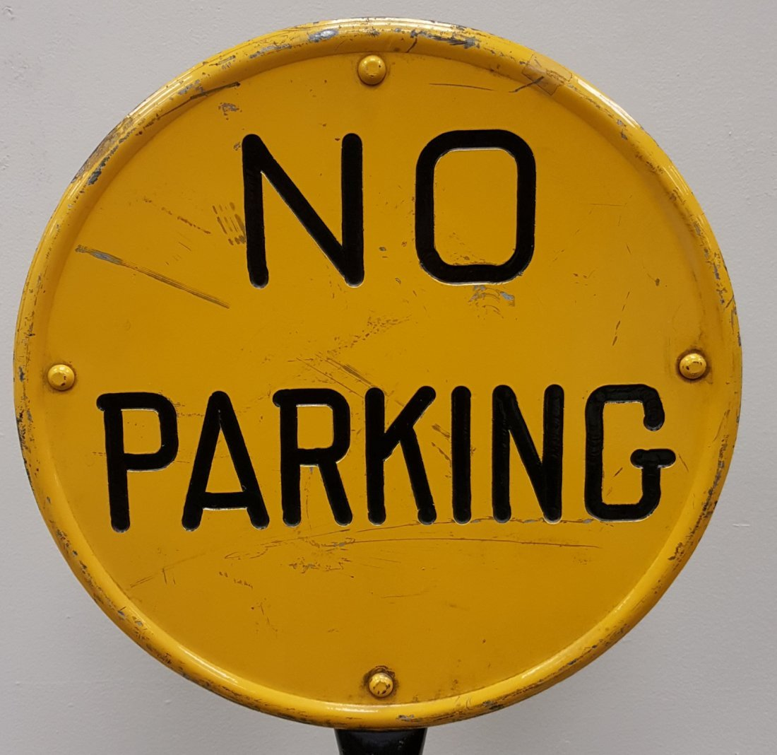 Double Sided Stamped No Parking Lollipop Sign & Base - 2