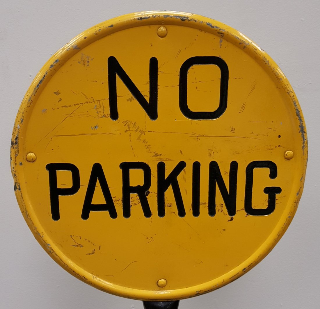Double Sided Stamped No Parking Lollipop Sign & Base - 3
