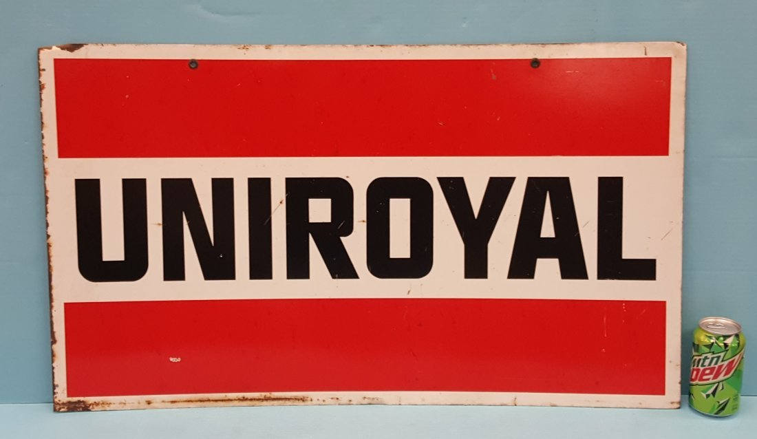 Uniroyal  Double sided metal sign.