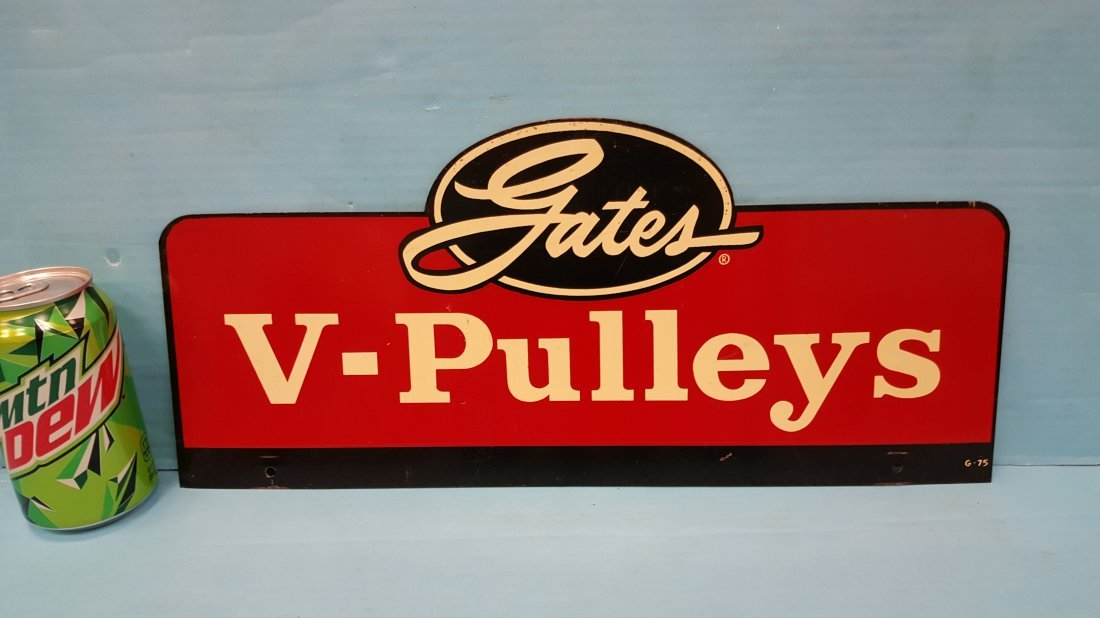 Gates V-Pulleys Double Sided Metal display sign
