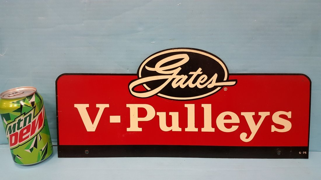 Gates V-Pulleys Double Sided Metal display sign - 2