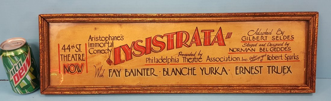 1931 Framed Lysistrata Theater Cardboard Advertisment