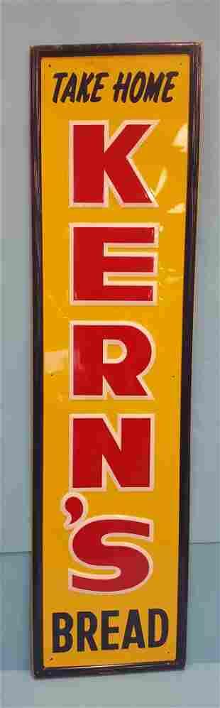 NOS Kern's Bread Tin Vertical Sign