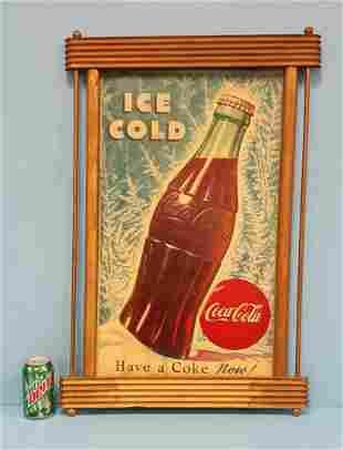 Coca Cola Cardboard sign w/ Wood Kay Displays Frame
