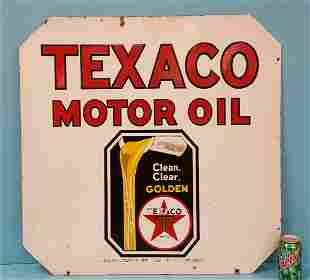 Porcelain Double Sided Texaco Motor Oil Sign