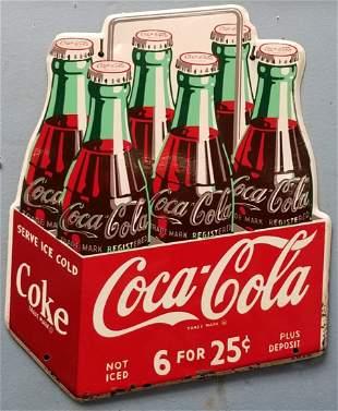 1950's Coca Cola Six Pack Tin Sign