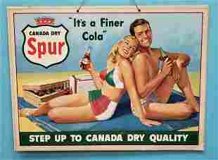 """Canada Dry Spur Cardboard Sign """"It's a Finer Cola"""""""