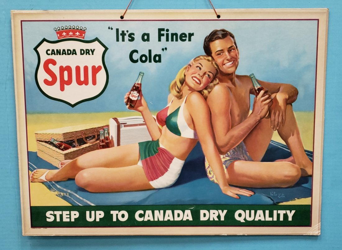"Canada Dry Spur Cardboard Sign ""It's a Finer Cola"""